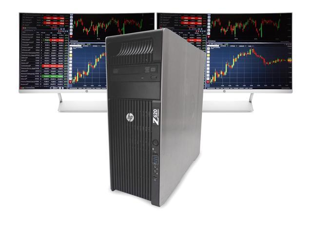 Refurbished: HP Z620 Day Trading Workstation, 2x HP Curved 27