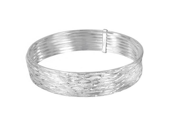 925 Sterling Silver Plain Expandable Wire Bangle Bracelet