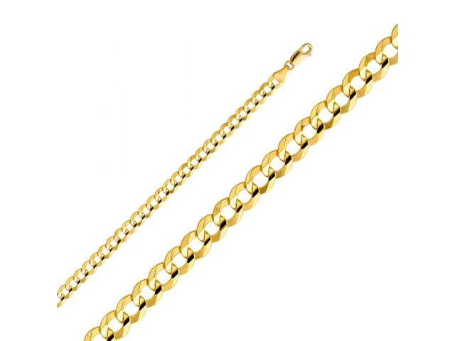 e513c2e96085e 14k Yellow Gold Hollow Men's 4 mm Cuban Curb Chain Necklace with Lobster  Claw Clasp 22 Inch - Newegg.com