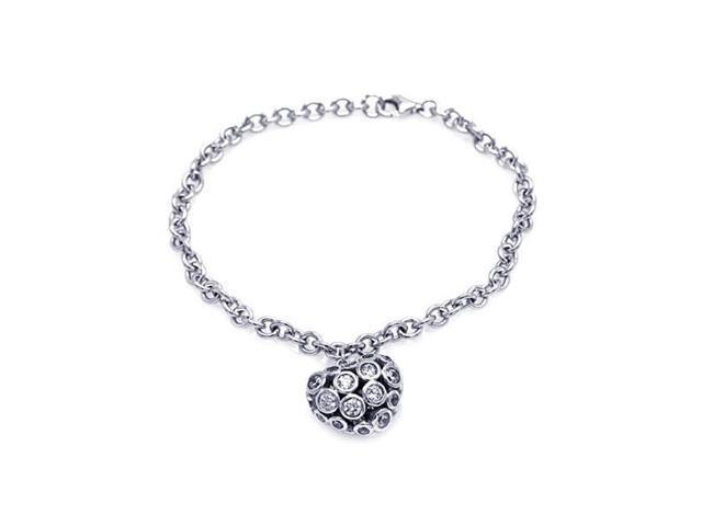 Women's Sterling Silver 925 Cubic Zirconia CZ Heart Charm Bracelet  567-stb00431 - Newegg com