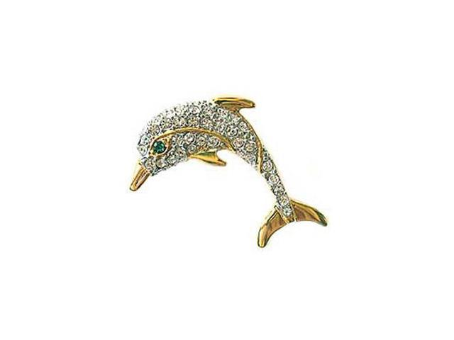 24k Gold-Plated Swarovski Crystal Dolphin Brooch/Pin (1/2 inch x 1 1/2  inches) (Boxed) - Newegg com