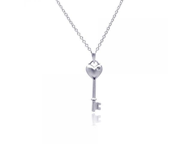 JewelsObsession Sterling Silver 41mm Heart Key Charm w//Lobster Clasp