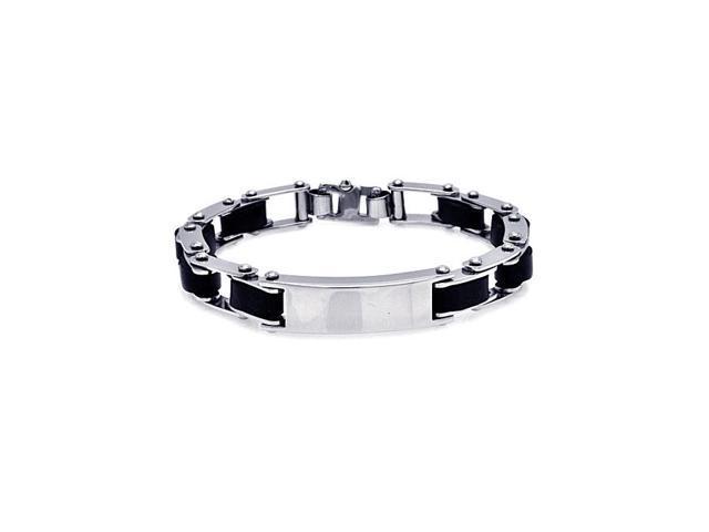 Stainless Steel Black Rubber Link Bike Chain Id Bracelet