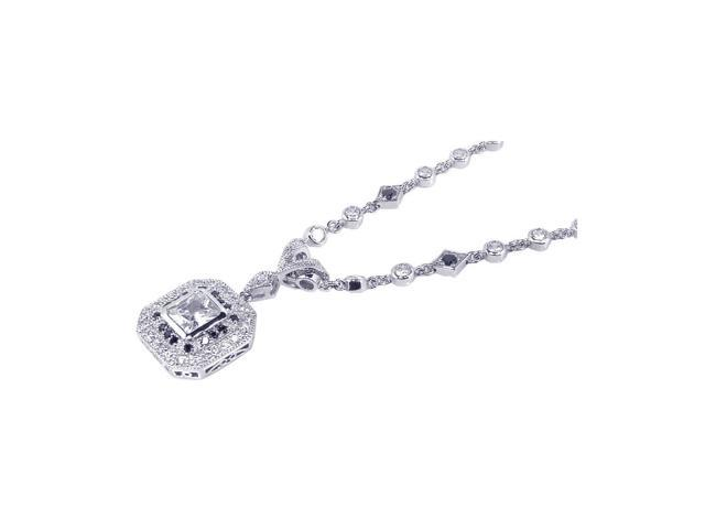 925 Sterling Silver Rhodium Plated Cubic Zirconia Pendant