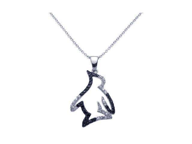 925 sterling silver black rhodium plated clear cubic zirconia 925 sterling silver black rhodium plated clear cubic zirconia penguin pendant necklace aloadofball Images