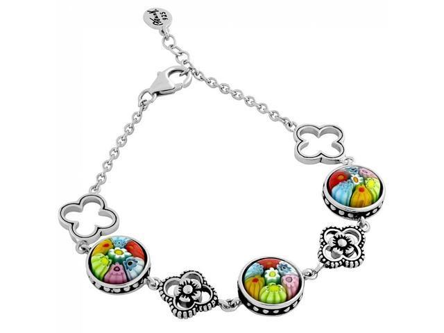 925 sterling silver nickel free multicolor millefiori round bracelet with clover design 7 u0026quot    1
