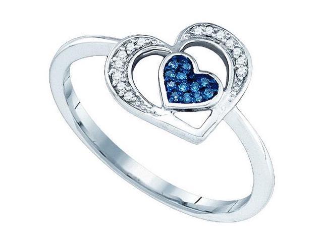 Ladies 10KT Yellow Gold Micro Pave Diamond Fashion Heart Ring 0.15CTW