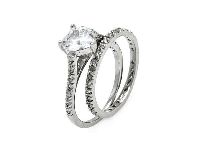 Clear Cubic Zirconia Bridal Ring Rhodium Plated Sterling Silver