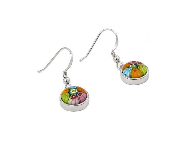 925 sterling silver nickel free millefiori multi color 10mm round earrings