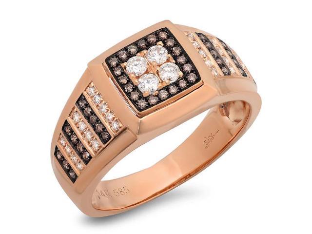0 63 Ctw 14k Rose Gold White And Champagne Diamond Mens Wedding