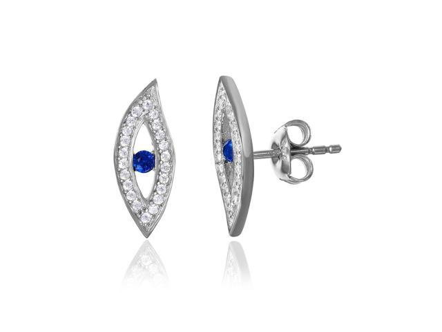 Sterling Silver W// Rhodium-plated /& Synthetic CZ Brilliant Embers Post Earrings 0.4IN Long
