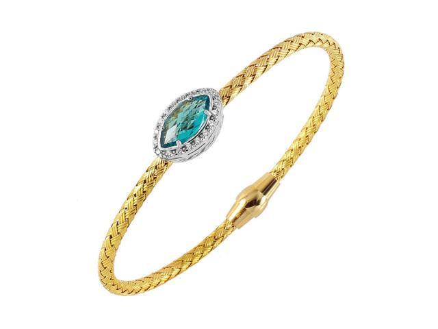 2dcdbc951877b .925 Sterling Silver Gold Plated Twisted Aqua CZ Stone Bangle Bracelet -  Newegg.com