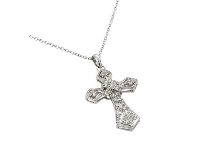 Sterling Silver Rhodium Plated Cross Pendant