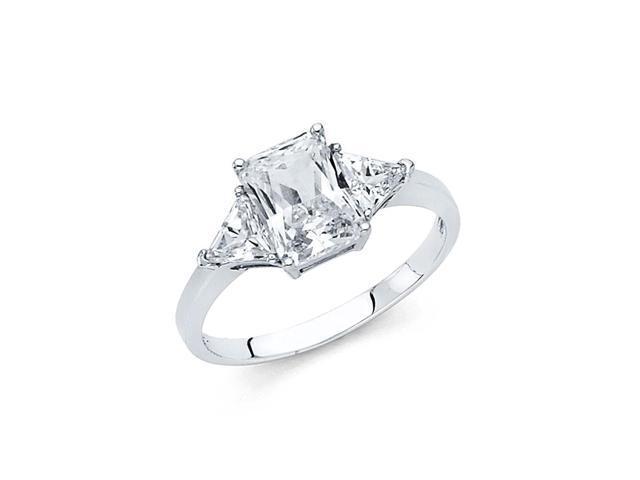 14k White Gold Cz Engagement Ring
