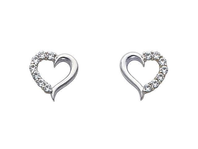 14k White Gold Heart Cz Earrings Newegg