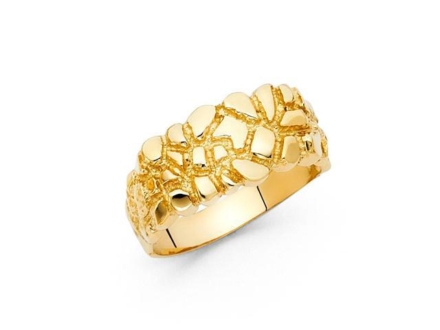 14k Solid Yellow Gold Nugget Ring Mens 10mm Newegg Com