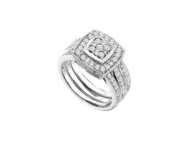 1 00 Ctw Diamond 14kt White Gold Womens Diamond Cluster 3 Piece Bridal Wedding Engagement Ring Band Set Newegg Com