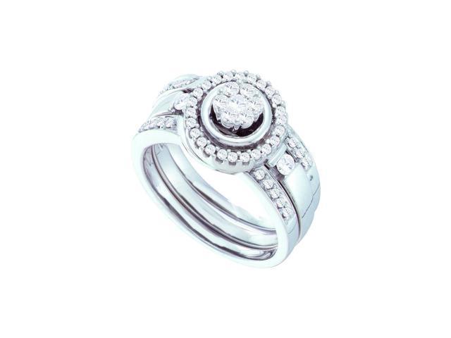 0 51 Ctw Diamond 14kt White Gold Womens Diamond Cluster 3 Piece Bridal Wedding Engagement Ring Band Set Newegg Com