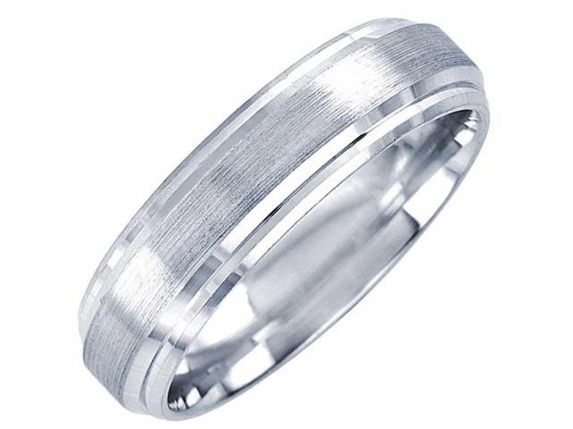 Jewelry Stores Network 6mm Flat Step Edge Sterling Silver Wedding Band Ring