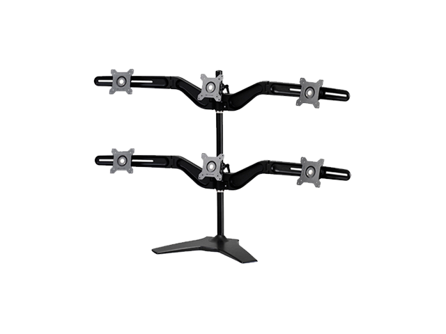 "Hex Monitor Stand by Amer Networks. Supports up to six 24"" Monitors with VESA standard 100x100 and 75x75."