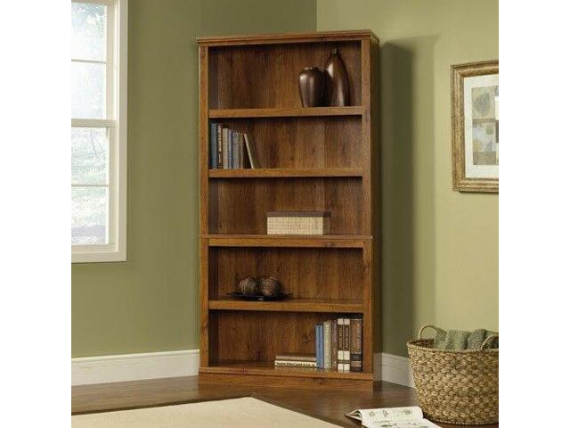 5 Shelf Bookcase Abbey Oak Solid Wood Barrister Display Adjustable Open Storage Newegg Com