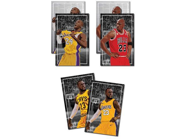 cheaper 138b2 cb203 3 Posters of NBA G.O.A.T. - Michael Jordan, Kobe Bryant, LeBron James Art  Prints - Buy 1 Get 2 Free, 3 total prints (2-sided) (Medium Set - 12