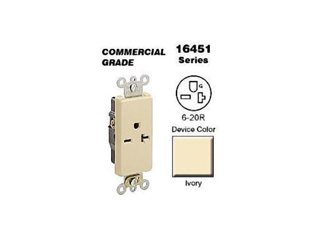Leviton 16451-I Ivory Decora COMMERCIAL Receptacle Single Outlet 250V 20A -  Newegg com