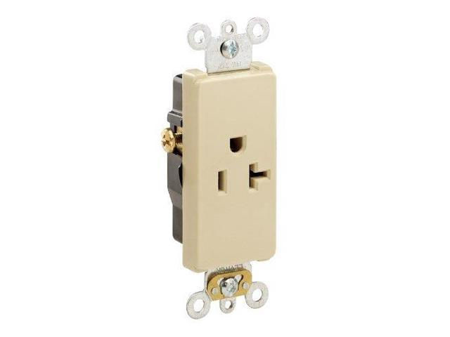 Leviton Ivory Decora COMMERCIAL Receptacle Outlet 20A 16341-I - Newegg com