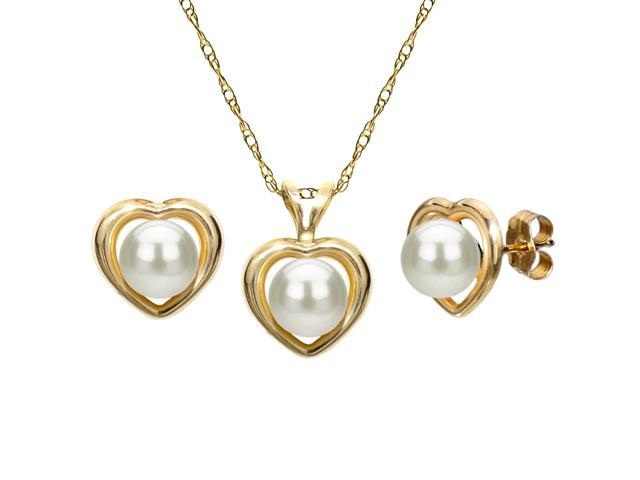 14K Yellow Gold Jewelry Pendants /& Charms Solid 5-6mm Round Freshwater Cultured Pearl Diamond Pendant