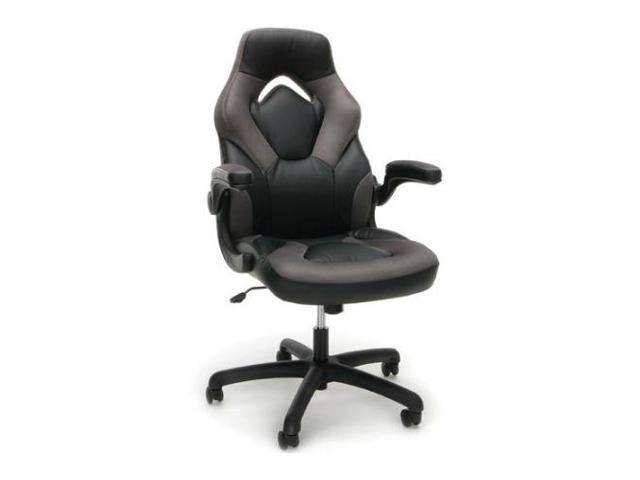 Ofm Ess 3085 Gry Racing Style Leather Gaming Chair Grey