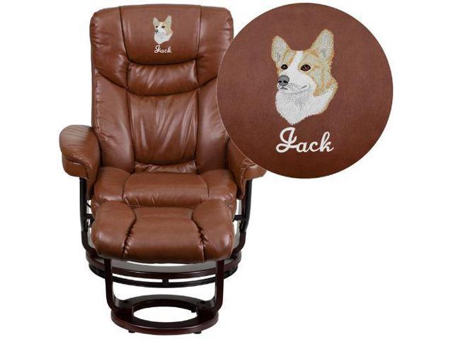 Super Embroidered Contemporary Brown Vintage Leather Recliner And Ottoman With Swiveling Mahogany Wood Base Flabt7821Vinembgg Gamerscity Chair Design For Home Gamerscityorg