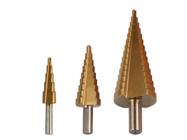 JNTworld 3pcs 4-12/20/32mm Large Hss Step Drill Bit Cone Drill