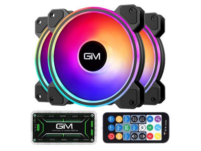 Music Rhythm 5V ARGB Addressable Motherboard SYNC//RC Controller Colorful Cooler Speed Adjustable with Fan Control Hub 3 Pack 120mm Quiet Computer Cooling PC Fans GIM KB-24 RGB Case Fans