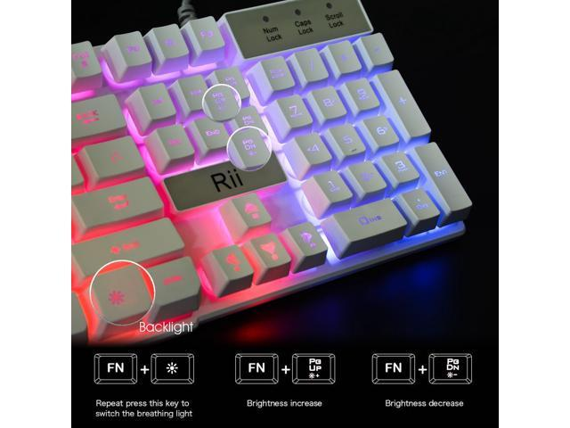 White Gaming Keyboard,USB Wired Multiple Colors Rainbow LED Backlit Large Size Mechanical Feeling Ultra-Slim Multimedia Office Keyboard Non-Slip for Primer Gaming and Working,Office Device Rii RK100