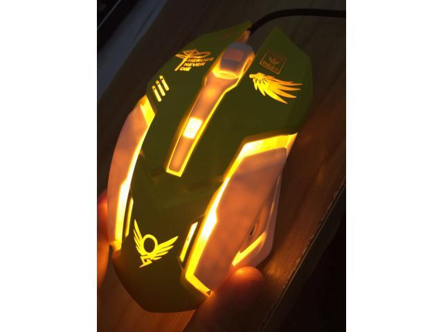 Hot Overwatch Mercy Wired Flash Lights Gaming Mouse for PC Laptop 2400 DPI Gift
