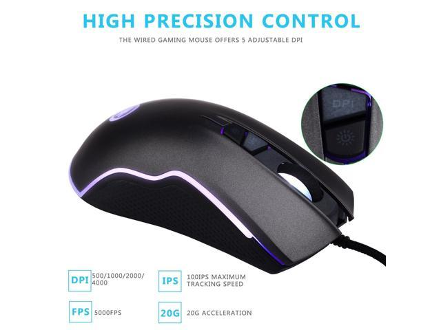 RENKUNDE Professional G41 2.4GHz 1600dpi Optical Wired Gaming Game Mouse with USB 6 Buttons Gaming Mouse Computer Mice for PC Laptop Mouse Color : White