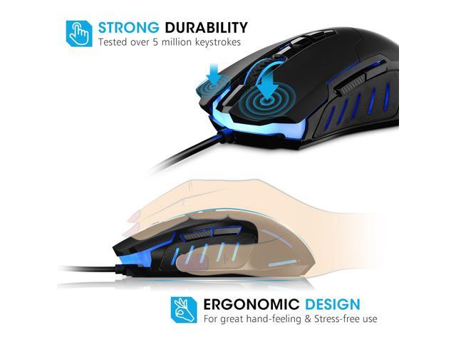 Pictek Gaming Mouse Wired [7200 DPI] [Programmable] [ Breathing Light]  Ergonomic Game Computer Mice with 7 Buttons for PC,Gamer - Newegg com