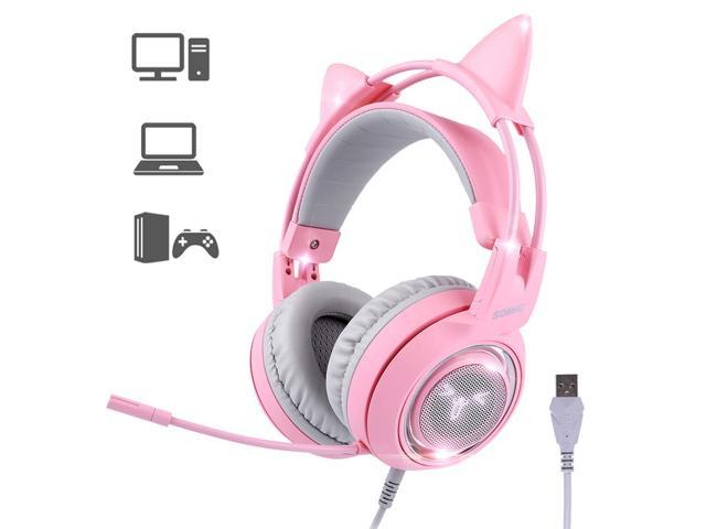 SOMIC G951pink Gaming Headset For PC, PS4, Laptop: 7.1 Virtual Surround Sound Detachable Cat Ear Headphones LED, USB, Lightweight Self-adjusting Over-Ear Headphones For Girlfriend Women