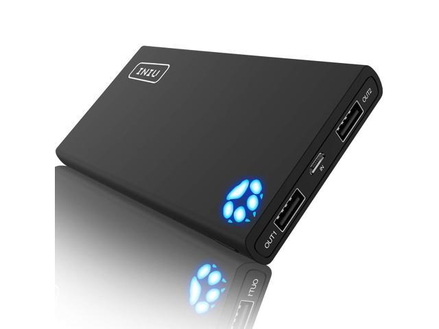 INIU Portable Charger 10000mAh Power Bank High-Speed 2 USB Ports with  Flashlight External Battery Backup Ultra Compact Slim Powerbank Compatible  with