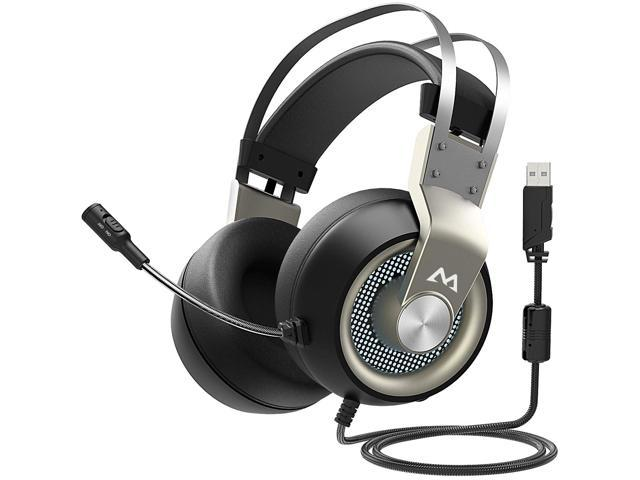Gaming Headset Headset for Professional Computer Players Virtual 7.1 Surround Sound USB Game Headphones with Noise canceling Microphone Color : Black, Size : M