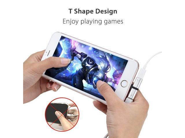 Hamdol Headphone Adapter for iPhone X//XS//XS MAX//XR//8// 8Plus// 7//7 Plus Headset Adaptor Splitter Earphone Connector Convertor 2 in 1 Accessories Car Charger Quick Charge Fast Car Adapter Sliver-White