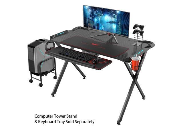 Eureka Ergonomic X1 S Gaming Computer Desk Pc Table Gaming Desks With Led Lights Large Carbon Fiber Surface Cup Holder Headphone Hook Black