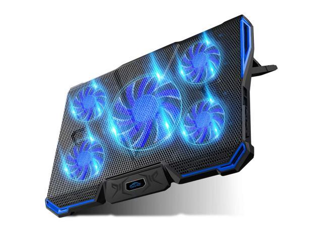 Laptop Cooling Pad 5 Fan 2500RPM Adjustable Strong Wind LED Light Blue Fan Free Height 2 USB Port Laptop Cooler Cooling Pad Stand for up to 15.6 inch Laptop with Metal Mesh Surface