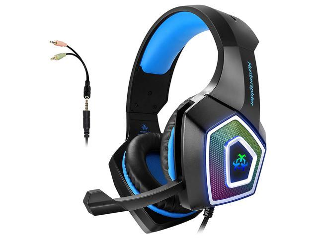 HUNTERSPIDER V1 Gaming Headset with Mic for Xbox One PS4 PC Switch Tablet  Smartphone, Headphones Stereo Over Ear Bass 3 5mm Microphone Noise  Canceling