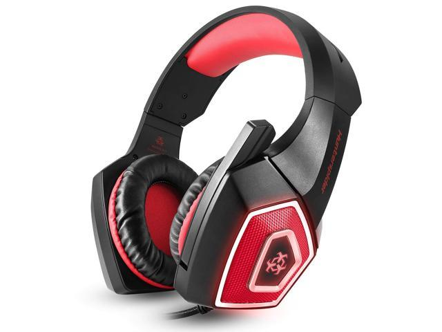 Gaming Headset with Mic for Xbox One PS4 PC Switch Tablet Smartphone Headphones Stereo Over Ear Bass 3.5mm Microphone Noise Canceling 7 LED Light Soft Memory Earmuffs Free Adapter