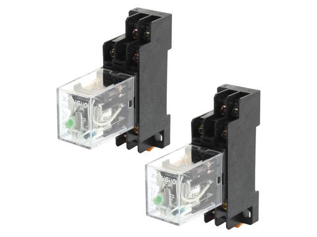 Global Bargains 2pcs HH52P DC 24V DPDT Green LED Electromagnetic Relay w  PYF08A Socket - Newegg com