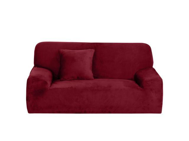 L-Shaped Stretch Sofa Covers Couch Slip Resistant for 1 2 3 Seater Burgundy