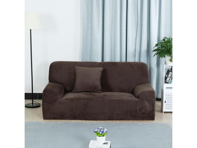 Velvet Plush Sofa Cover Loveseat Couch Slipcover, Machine Washable, Stylish  Furniture Protector Covers with One Cushion Case (2 Seater, Coffee Color)  ...