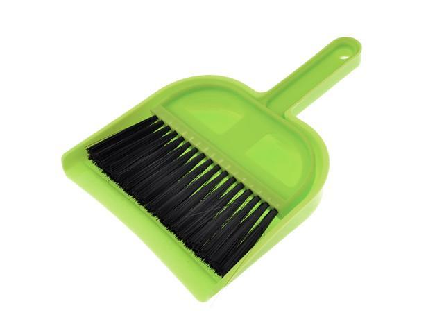 2 in 1 Plastic Whisk Dust Broom Dustpan Mini Desktop Cleaner Yellow Green -  Newegg com