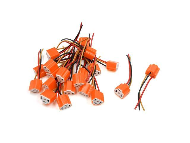 20pcs Orange Ceramic H4 Light Extension Wiring Harness Socket Connector on wire harness repair, wire harness assembly, wire harness connectors, wire harness tubing, wire harness fasteners, wire harness testing,